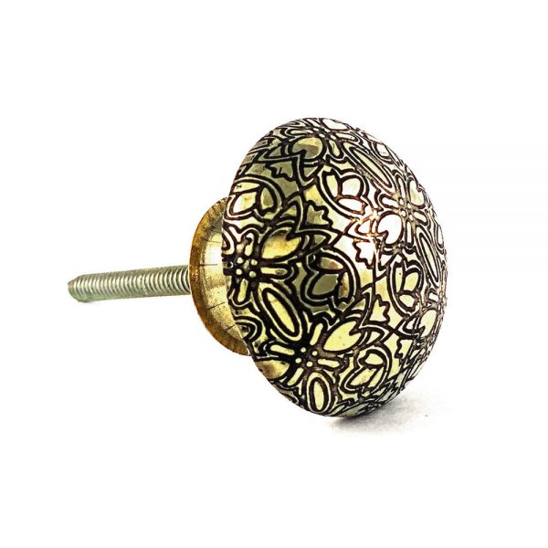 Floral embossed knob 2 1 600x600 - Gold Floral Embossed Knob