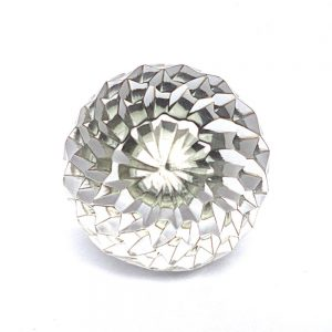 Solid Clear Glass Knob with Geometric Design