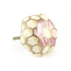 Geometric flower knob. Pink white and gold 1 300x300 - Geometric Ceramic Flower Knob