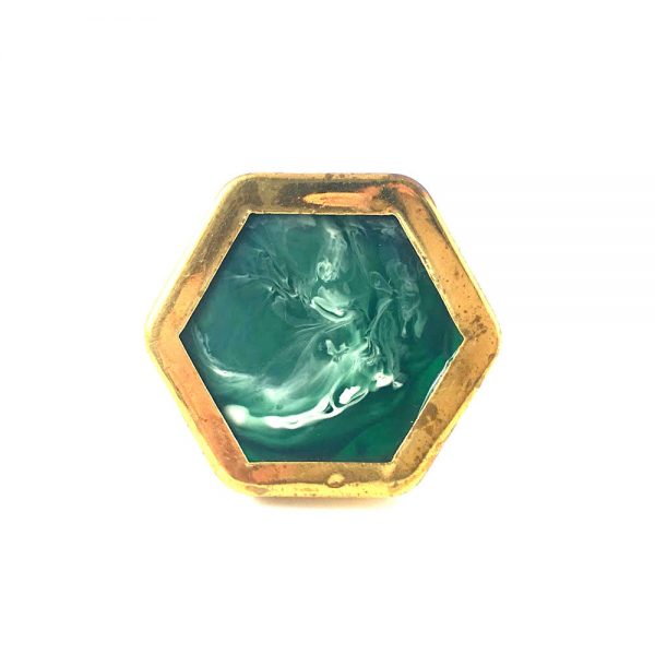 Gold Rimmed Art Deco Knob 1 1 600x600 - Emerald Green And Gold Hexagon Knob