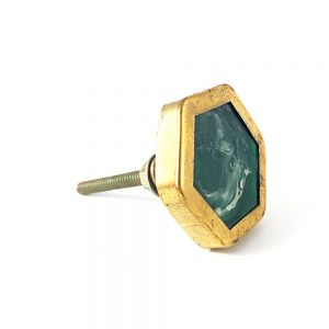 Gold Rimmed Art Deco Knob 2 1 300x300 - Emerald Green And Gold Hexagon Knob