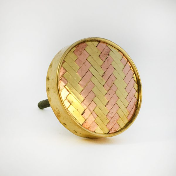 Round Two Toned Gold and Copper Weaved Knob