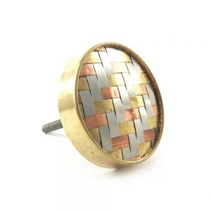 Gold chrome and copper Weaved knob 1 300x300 - Round Copper Gold and Silver Weaved Knob