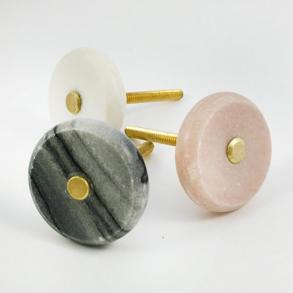 Grey Marble and Brass knob 3 600x600 - Round Grey Marble and Brass Knob