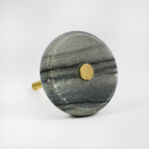 Round Grey Marble and Brass Knob