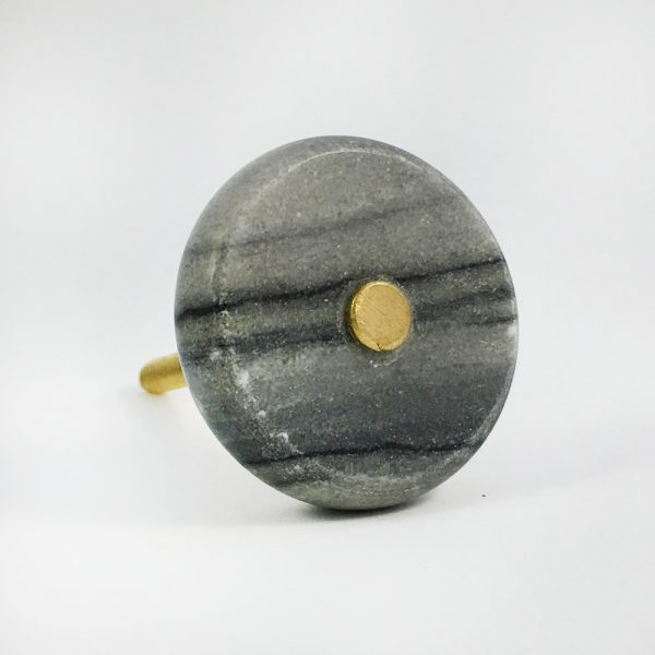 Grey Marble and Brass knob main 600x600 - Round Grey Marble and Brass Knob
