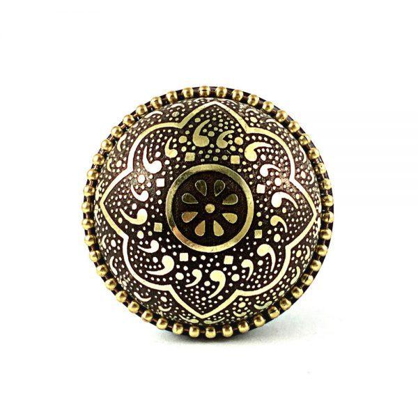 Metal Flower Knob 1 1 600x600 - Round Gold and Black Flower Knob