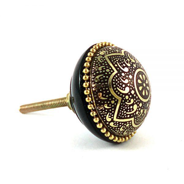 Round Gold and Black Flower Knob