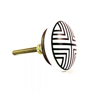 Monochrome Knob 2 1 300x300 - Round Black and White Ceramic Knob