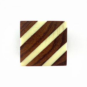 Multi Diagonal Striped Knob, White Acrylic and Wood