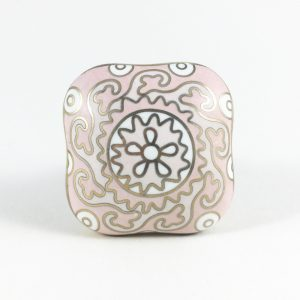 Pink and gold square knob 1 300x300 - Square Pink Gold & White Handpainted Knob