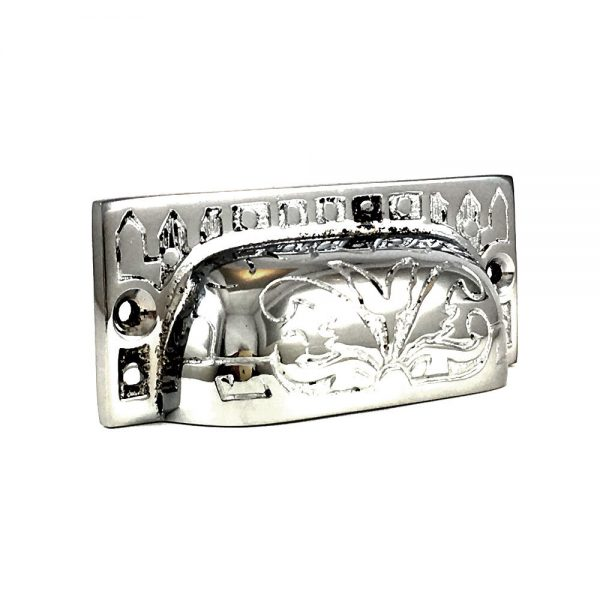 Chrome Rectangular Etched Brass Cup Pull