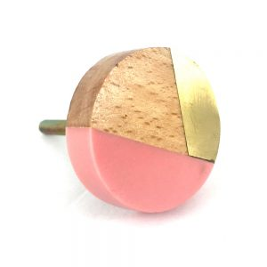 Round gold wood and pink resin knob 1 300x300 - Round Pink Trio Knob