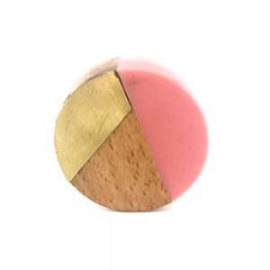 Round gold wood and pink resin knob 3 300x300 - Round Pink Trio Knob