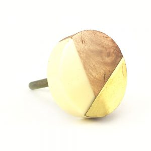 Round gold wood and resin knob 1 300x300 - Round White Trio Knob