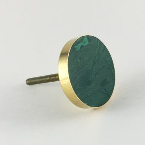 Swirled Emerald Green and Gold Discoid Knob
