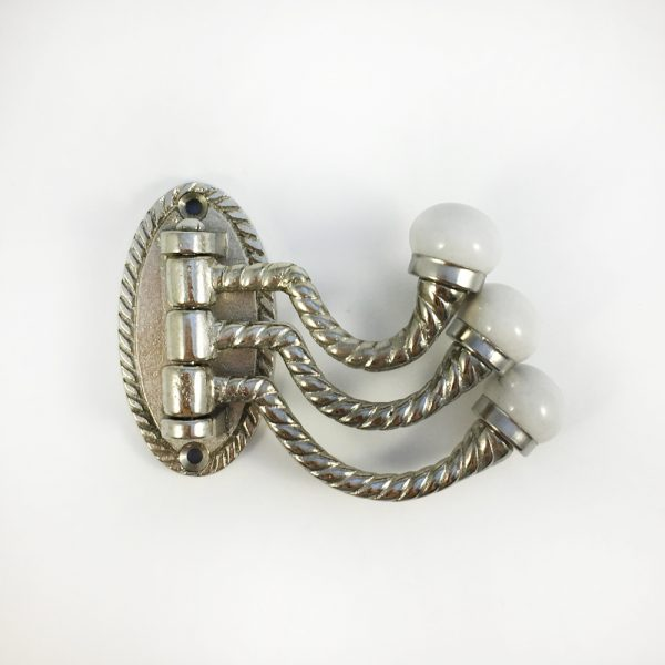 Silver 3 arm swivel hook main 600x600 - Silver Trio Swivel Wall Hook
