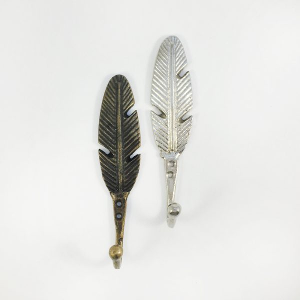Silver feather hook 2 600x600 - White and Gold Feather Wall Hook