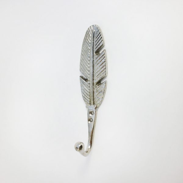 Silver feather hook main 600x600 - Silver Feather Wall Hook