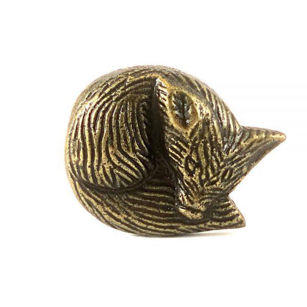 Sleeping Mr. Fox Knob 1 1 600x600 - Antique Gold Sleeping Mr. Fox Knob