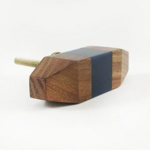Square Gold and white geometric knob 1 1 300x300 - Solid Wood Knob with Blue Square Detail