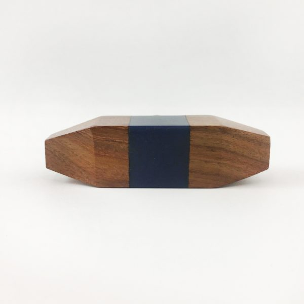 Solid Wood Knob with Blue Square Detail