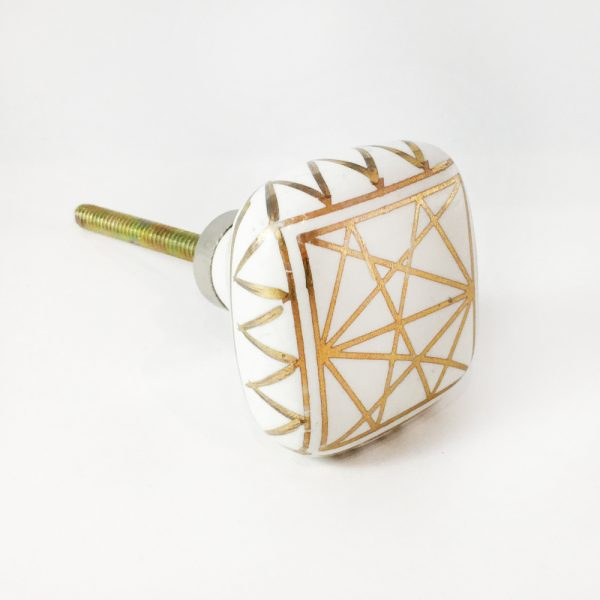 Square White and Gold Geometric Knob