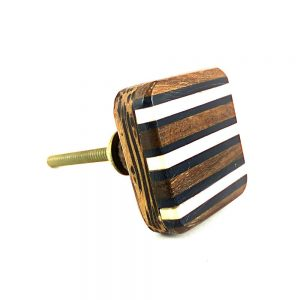 Square Striped Wooden Knob