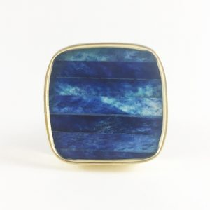 Square blue knob 1 300x300 - Blue and Gold Square Knob