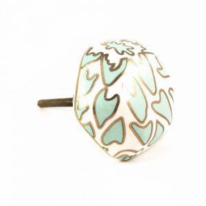 Teal and gold printed ceramic knob 1 300x300 - Geometric Ceramic Knob