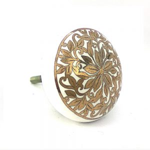 White and gold floral ceramic knob 1 300x300 - Round Grey Marble and Brass Knob