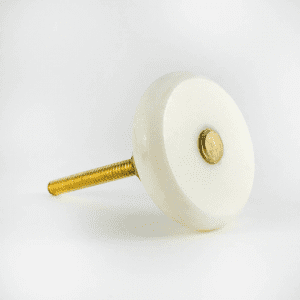 Round White Marble and Brass Knob