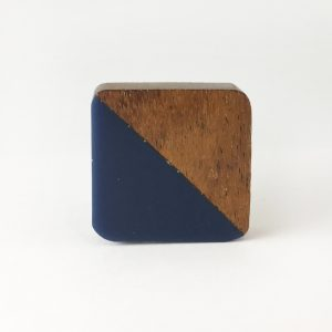 Square Wood and Navy Resin Diagonal Knob