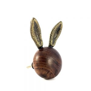 Wooden Long Eared Rabbit Knob