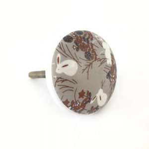 Round Woodland Ceramic Knob