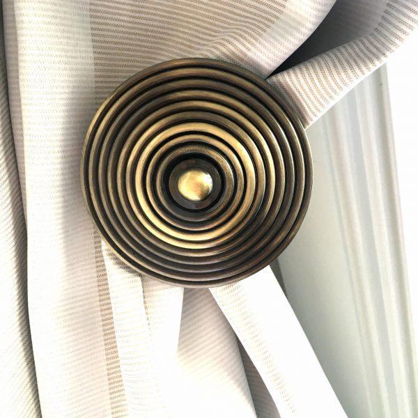 Pair- Antiqued Brass Spiral Curtain Holdback