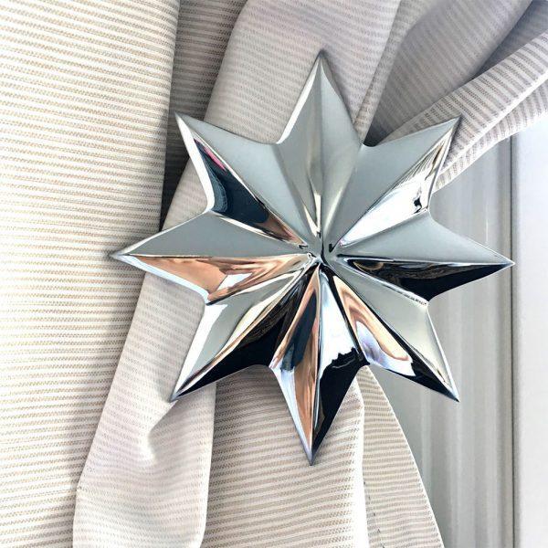 Pair - Chrome Star Curtain Holdback