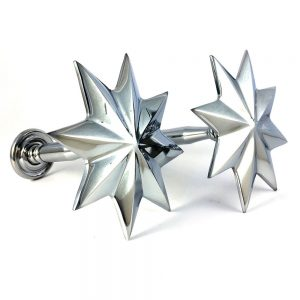 Pair - Chrome Star Curtain Holdback