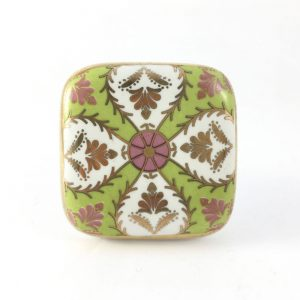 floral design green and pink 1 300x300 - Square Ceramic Art Deco Detailed Knob