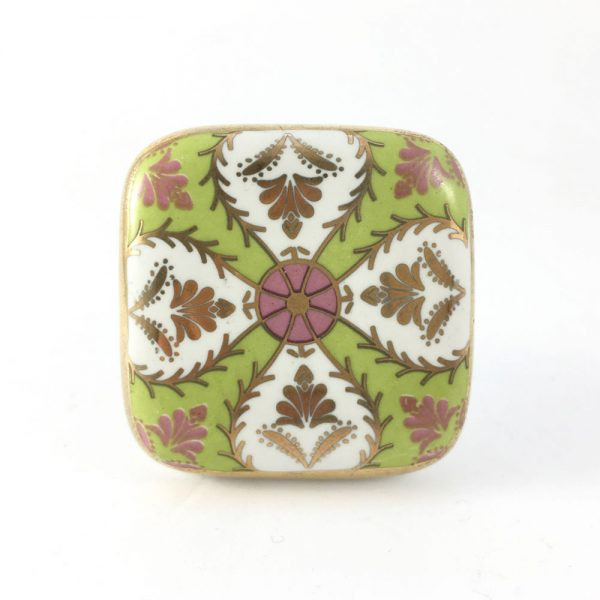 floral design green and pink 1 600x600 - Square Ceramic Art Deco Detailed Knob