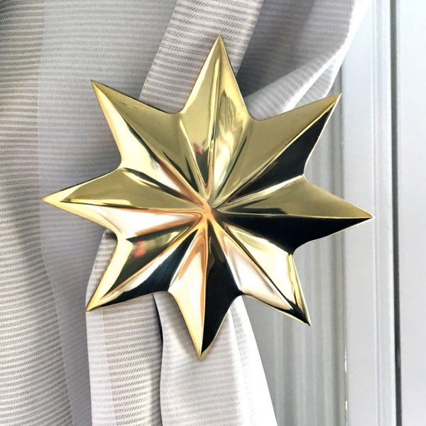 gold holdback star curtain2 600x600 - Pair - Polished Brass Star Curtain Holdback
