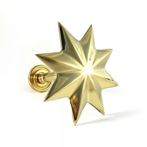 Pair - Polished Brass Star Curtain Holdback