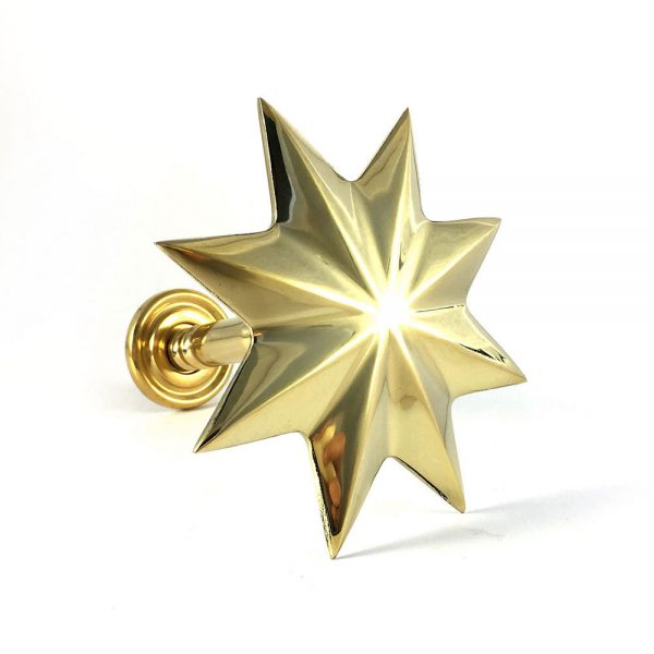 gold holdback star main2 600x600 - Pair - Polished Brass Star Curtain Holdback