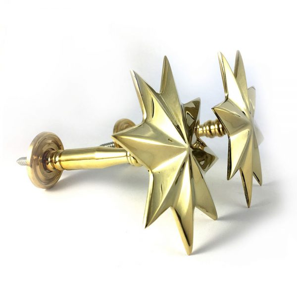 gold holdback star multi2 600x600 - Pair - Polished Brass Star Curtain Holdback