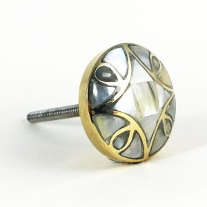 mother of pearl knob main 300x300 - Antiqued Gold and Pearl Knob