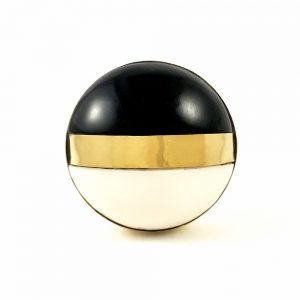 two toned black  front filesfront1 300x300 - Round Black and White Brass Banded Knob