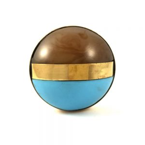 Round Brown and Blue Brass Banded Knob