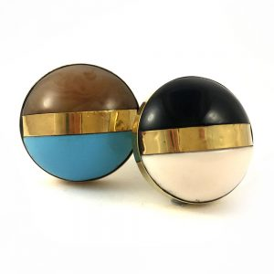 Round Black and White Brass Banded Knob