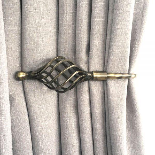 Pair - Antique Brass Imperial Crown Curtain Holdback
