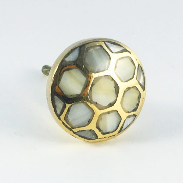 Antiqued Gold and Pearl Honeycomb Knob